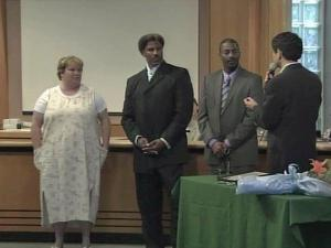 Joey and Freddie Shelton, who helped foil an apparent kidnapping last month in downtown Chapel Hill, received the key to the city Monday, June 21, 2010. Melissa Williams, who helped get information for police following the thwarted kidnapping, was given flowers and a copy of the proclamation, honoring all three for their acts of bravery.