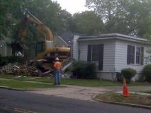 The infamous Duke lacrosse house at 610 N. Buchanan Blvd. being torn down on Monday, July 12, 2010.