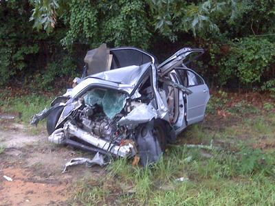 A woman and her three children were injured in a wreck on Country Club Drive in Fayetteville on July 27, 2010. This is a photo of their car after the wreck.