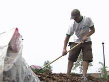 Volunteers improve grounds at Durham school