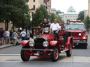The North Carolina Firefighters Association held the Main Street Fire Truck Parade in downtown Raleigh on Saturday, August 14, 2010.  (Photo courtesy of Gregory Wiggs Photography)