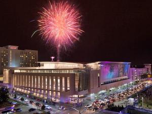 Fireworks light up the sky over the Raleigh Convention Center during Raleigh Wide Open 5 celebrations. (Photo by Michael Zirkle)
