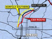 Proposed routes for high-speed rail line through Raleigh