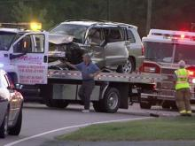 At least two people were injured in wreck at the intersection of Yates Mill Pond Road and Millrace Trail in Wake County on Sept. 9, 2010.