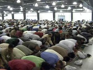 Hundreds of Muslims pray at the State Fairgrounds on Sept. 10, 2010, to mark Eid, the end of the holy month of Ramadan.