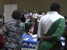 Job seekers at job fair