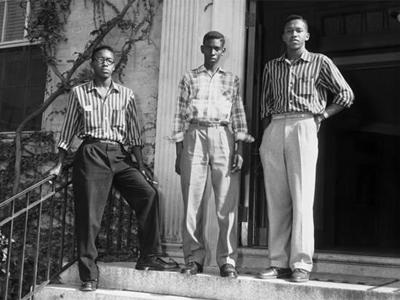 From left, Leroy Frasier, John Lewis Brandon and Ralph Frasier  on the steps of UNCs South Building in 1955. (Photo courtesy of UNC News Services)