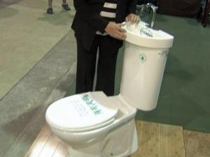 A combination toilet-sink drew lots of looks at the Southern Ideal Home Show in Raleigh.