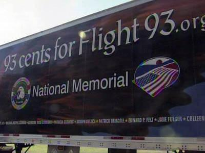 A tractor-trailer bearing the names of all of the passengers of United Flight 93, which crashed in a Pennsylvania field on 9/11, is helping raise money for a memorial at the crash site.