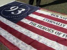 Students at Union Pines High School in Cameron signed a flag that will fly over a memorial at the United Flight 93 crash site in Pennsylvania.