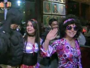 Revelers on Franklin Street in Chapel Hill enjoy Halloween on Oct. 31, 2010.