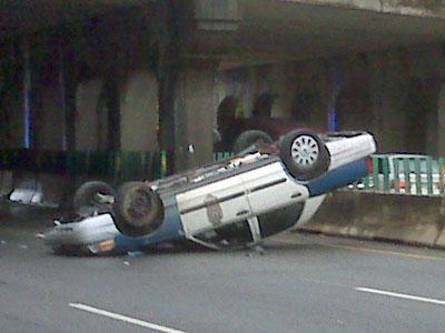 A Raleigh Police car was overturned during a wreck on Capital Boulevard on Nov. 4, 2010.