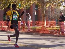Daniel Kipkoech, 23. pf Kennesaw, Ga., broke the Rex Healthcare Half Marathon record by completing the race in 1 hour, 4 minutes and 38 seconds, 30 seconds faster than the previous record that was set in 2009.