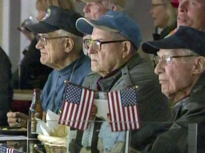 The Carolina Hurricanes honored veterans of World War II during their match-up against the Philadelphia Flyers at the RBC Center on Nov. 11, 2010.