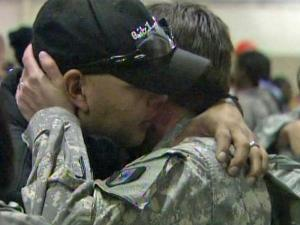 Members of the the Army's 601st Area Support Medical Company shared hugs with family before leaving for Afghanistan.