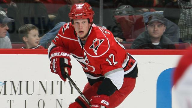 RALEIGH, NC - DECEMBER 23: Eric Staal #12 of the Carolina Hurricanes controls the puck during a NHL game against the Montreal Canadiens on December 23, 2009 at RBC Center in Raleigh, North Carolina.  (Photo by Gregg Forwerck/NHLI via Getty Images)