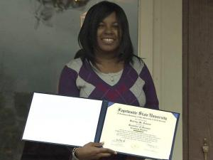 Medical problems forced Katrina Faison to miss two years of school. She overcame those incredible odds to graduate, at the age of 21, from Fayetteville State University Saturday at the top of her class and served as valedictorian at this weekend's winter commencement.