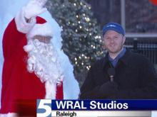 Santa stops by WRAL and talks with meteorologist Nate Johnson.