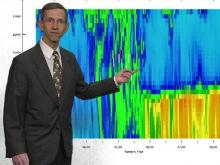 WRAL meteorologist Mike Moss shows a radar system that tracks the velocity of precipitation falling to the ground.