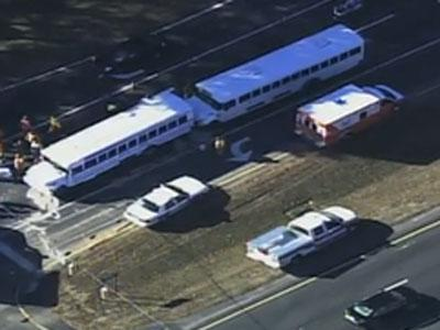Two school buses are involved in a wreck on U.S. Highway 64 and Edinburgh Drive in Cary on Dec. 20, 2010.