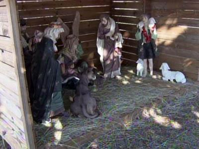 The statues of baby Jesus and a donket were stolen from a nativity scene outside Cedar Creek Baptist Church in Fayetteville on Dec. 18 or 19, 2010, police said.