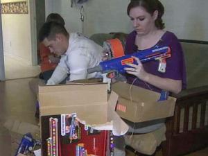 Specialist Benjamin Bell got to open gifts with his children. It is his first Christmas at home in four years.