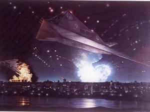 "A F-117 Stealth fighter strikes Baghdad in a painting by Steven Moore. It is titled ""Lightning at 300"" First Strike on Baghdad."" (Reprinted with permission of Dru Blair Studios.)"