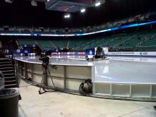 Alll's quiet inside the Greensboro Coliseum before the opening ceremonies begin Wednesday night.