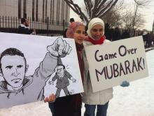 N.C. State student and Egyptian native Hussein El Nawawy provided photos to WRAL News of anti-Mubarak protests in Washington, D.C. Saturday.