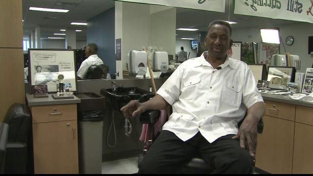 Willie Wright has been behind the barber's chair at the YMCA on Hillsborough Street for 35 years.