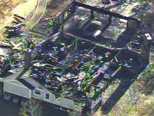 Orange County house fire aerial view