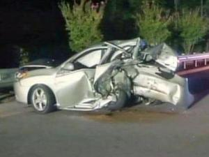 Elena Shapiro's Hyundai Elantra after the crash on Sept. 11, 2009. (Photo by Raleigh police)