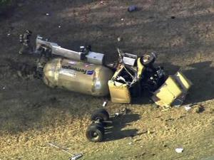 A tanker carrying propane flipped and spilled its load Monday afternoon on U.S. Highway 401 near Raeford.