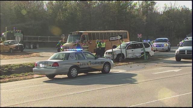 A school bus and vehicle crashed at N.C. Highway 55 and Old Smithfield Road in Holly Springs around 7 a.m. Monday, March 7, 2011.