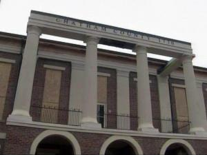 Chatham County officials plan to rebuild the landmark county courthouse, which was consumed by a fire on March 25, 2010. They stabilized the remaining walls and installed a temporary roof to protect what was left of the interior.