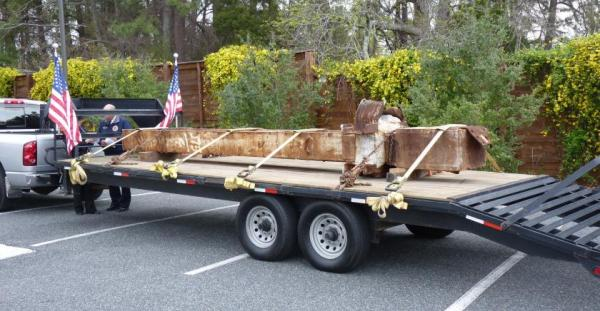 A piece of steel beam from the former World Trade Center arrives in Chatham County and awaits its journey around the county on March 26. The piece was donated to the county by the Port Authority to be used as a future Chatham County 9-11 Memorial to honor those who lost their lives during the tragedy of Sept. 11, 2001.  The county hosted small tribute ceremonies in three locations. All emergency responder agencies in Chatham County were involved in the event. (Photo courtesy of Chatham County Community Relations)