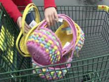 Easter baskets filled with candy from Sanford store