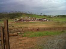 An arena used to show horses once stood in this spot at Misty Creek Ranch in Sanford. The arena was destroyed after a tornado hit it on April 16, 2008. The barn behind it was damaged, but several horses were injured or died as a result of injuries resulting from the storm.