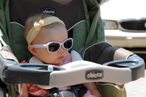 Aleyna of Fort Bragg has the right idea with her sunglasses while visiting the the annual Dogwood Festival in Fayetteville, NC on April 30, 2011. (Photo by Lance King)
