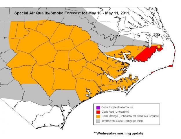 North Carolina Wildfire Map.Wildfire Air Quality Map Wral Com