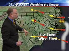 Low-level winds carry wildfire smoke west
