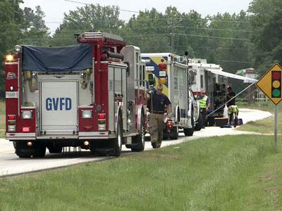 Hazmat crews responded after a Waste Industries sanitation truck caught fire on N.C. Highway 50 and Ten-Ten Road, just south of Garner, on May 13, 2011.