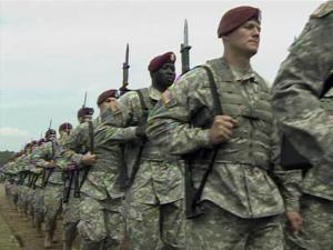 Members of the 82nd Airborne Division take part in the pass in review ceremony on May 19, 2011, at the conclusion of All American Week at Fort Bragg.