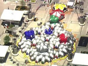 A 10,000-square-foot inflatable sculpture called Amococo covers Raleigh's City Plaza. The sculpture is by England's Architects of Air.