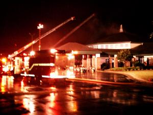 First Free Will Baptist Church caught fire Friday, June 10, 2011, after being struck by lightning, according to Wilson County authorities.