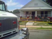 Henderson Fire Chief Danny Wilkerson says that two adults and two children were badly injured in a house fire at 210 Carolina Ave. Saturday, June 25, 2011, and had to be taken to the North Carolina Jaycees Burn Center at UNC Hospitals.