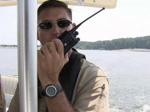 State Wildlife Resources Commission Sgt. Reggie Parker patrols Jordan Lake for impaired boaters during the Fourth of July weekend.