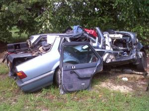 A man driving this 1989 Honda died July 5, 2011, after crashing into a 2000 Chevrolet car carrying three 17-year-old girls, according to troopers.