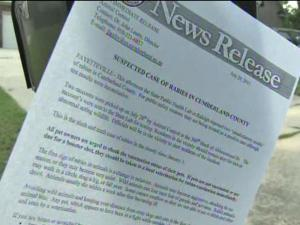 Cumberland County posted notices on mailboxes asking residents to report packs of wild dogs.