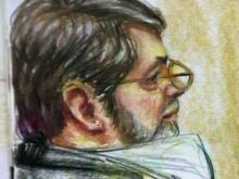 A courtroom drawing of Robert Kenneth Stewart during his trial on Aug. 1, 2011.